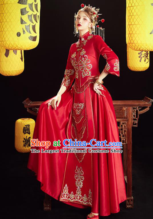 Chinese Traditional Wedding Embroidered Drilling Blouse and Dress Red Bottom Drawer Xiu He Suit Ancient Bride Costumes for Women