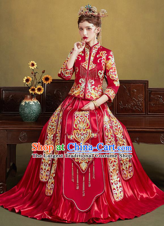 Chinese Traditional Wedding Red Slim Xiu He Suit Embroidered Blouse and Dress Ancient Bride Costumes for Women