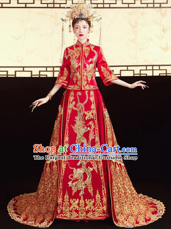 Chinese Traditional Wedding Red Xiu He Suit Embroidered Dragon Phoenix Blouse and Dress Ancient Bride Costumes for Women