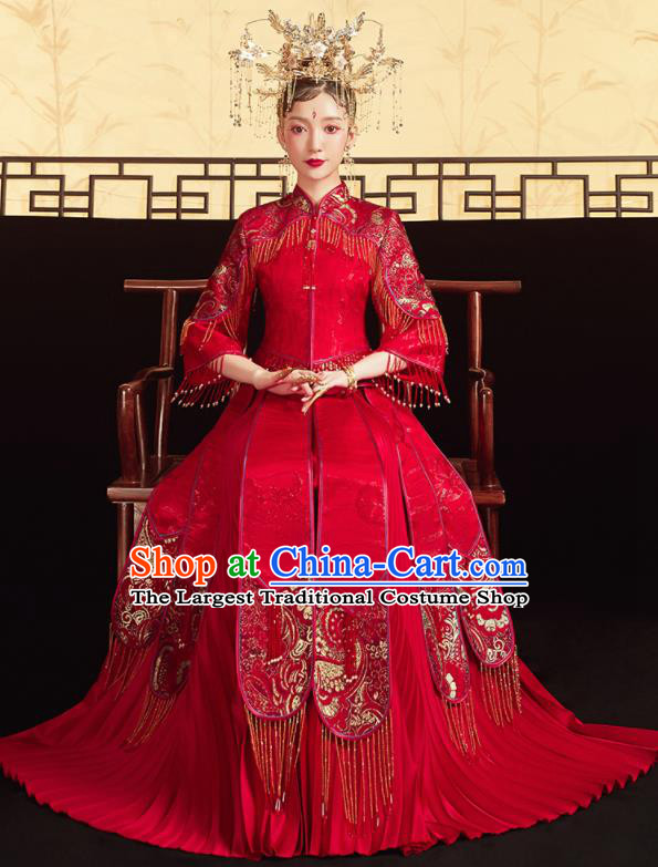 Chinese Traditional Red Bottom Drawer Wedding Blouse and Dress Xiu He Suit Ancient Bride Costumes for Women
