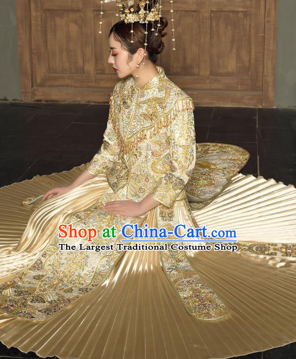 Chinese Traditional Wedding Embroidered Dragon Golden Blouse and Dress Xiu He Suit Bottom Drawer Ancient Bride Costumes for Women