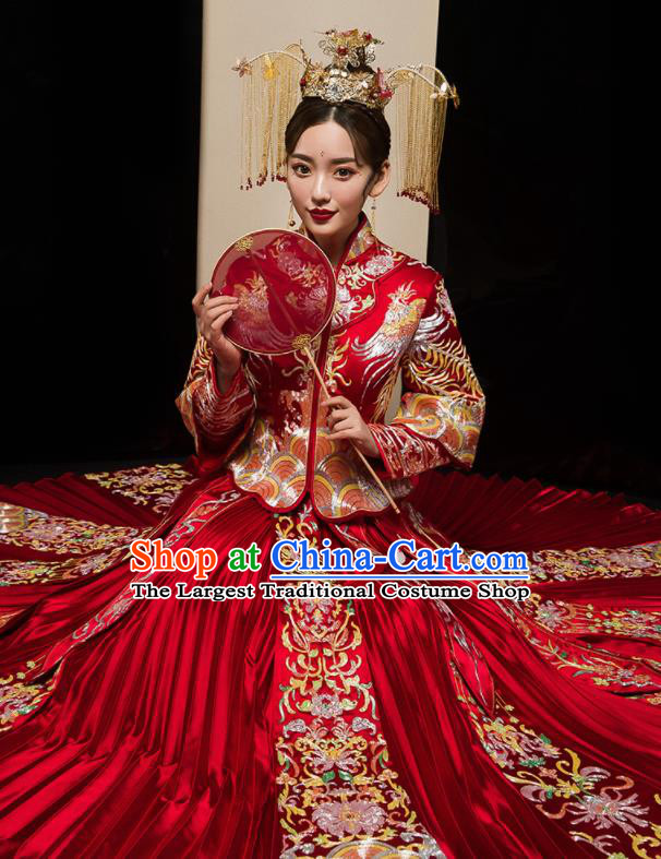 Chinese Traditional Wedding Embroidered Flowers Red Blouse and Dress Xiu He Suit Bottom Drawer Ancient Bride Costumes for Women