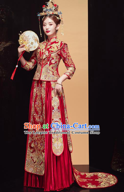 Chinese Traditional Wedding Embroidered Dragon Red Blouse and Dress Xiu He Suit Bottom Drawer Ancient Bride Costumes for Women