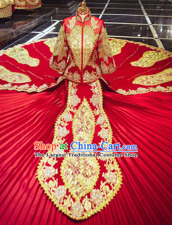 Chinese Traditional Wedding Embroidered Red Blouse and Dress Xiu He Suit Bottom Drawer Ancient Bride Costumes for Women