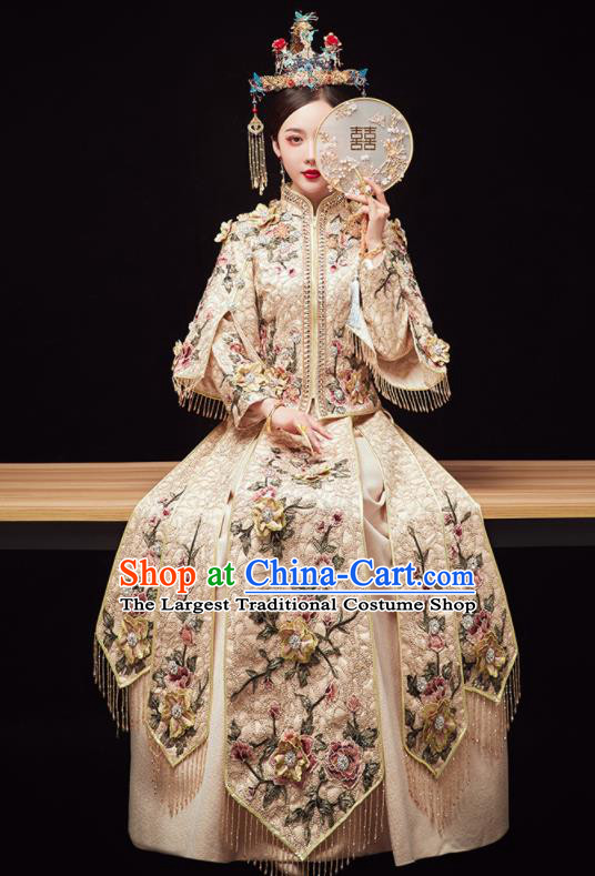 Chinese Traditional Wedding Embroidered Flowers Beige Blouse and Dress Xiu He Suit Red Bottom Drawer Ancient Bride Costumes for Women