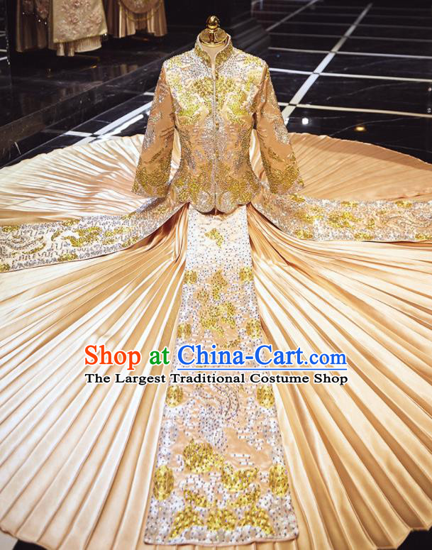 Chinese Traditional Wedding Embroidered Drilling Champagne Blouse and Dress Xiu He Suit Red Bottom Drawer Ancient Bride Costumes for Women