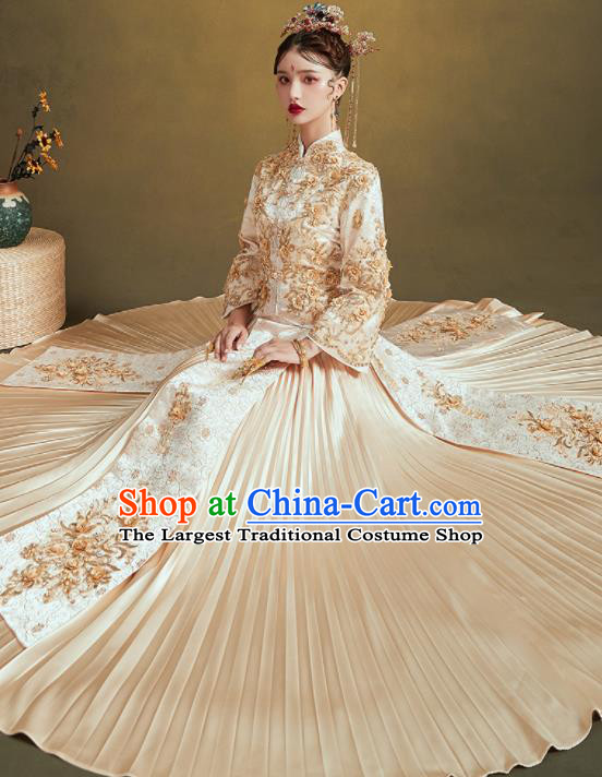 Chinese Traditional Embroidered Champagne Bottom Drawer Wedding Blouse and Dress Xiu He Suit Ancient Bride Costumes for Women