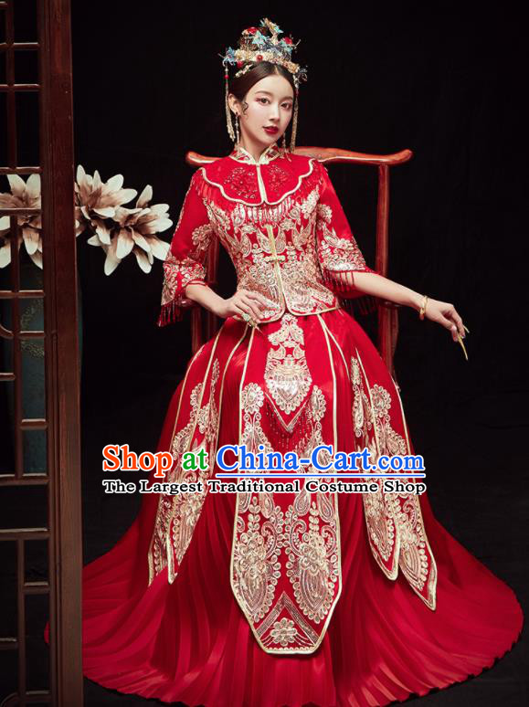 Chinese Traditional Wedding Embroidered Red Blouse and Dress Xiu He Suit Red Bottom Drawer Ancient Bride Costumes for Women