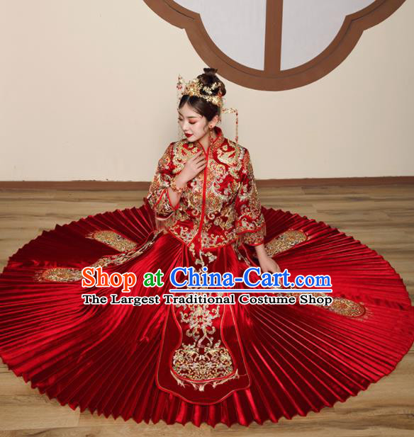 Chinese Traditional Wedding Embroidered Drilling Slim Blouse and Dress Xiu He Suit Red Bottom Drawer Ancient Bride Costumes for Women