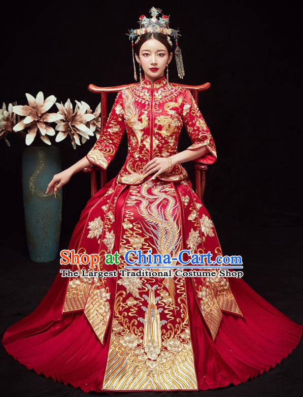 Chinese Traditional Wedding Embroidered Phoenix Peony Slim Blouse and Dress Xiu He Suit Red Bottom Drawer Ancient Bride Costumes for Women