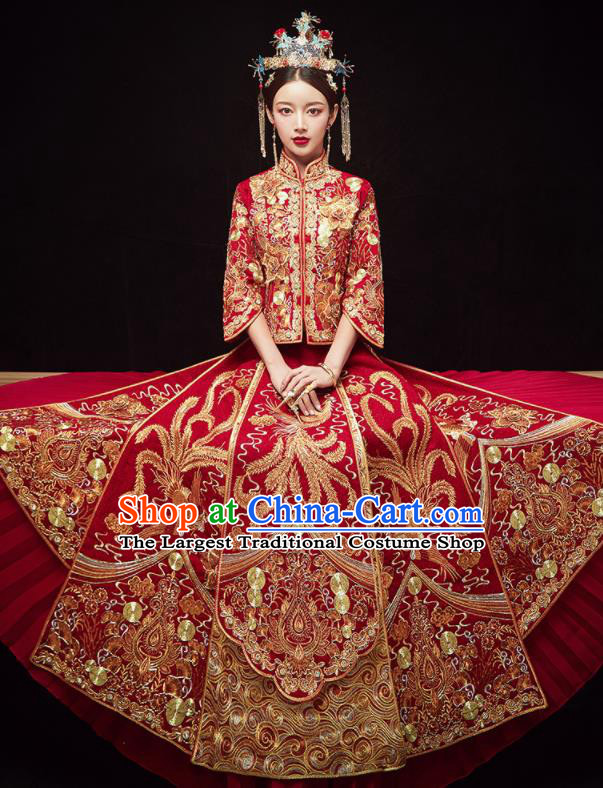 Chinese Traditional Wedding Embroidered Phoenix Slim Blouse and Dress Xiu He Suit Red Bottom Drawer Ancient Bride Costumes for Women