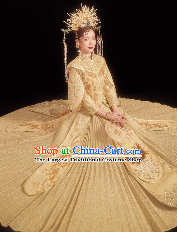 Chinese Traditional Embroidered Golden Bottom Drawer Wedding Blouse and Dress Xiu He Suit Ancient Bride Costumes for Women