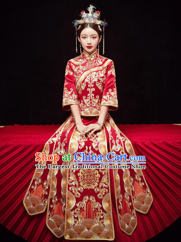 Chinese Traditional Wedding Embroidered Red Slim Blouse and Dress Xiu He Suit Red Bottom Drawer Ancient Bride Costumes for Women