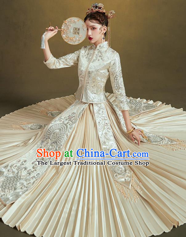 Chinese Traditional Embroidered Beige Bottom Drawer Wedding Blouse and Dress Xiu He Suit Ancient Bride Costumes for Women
