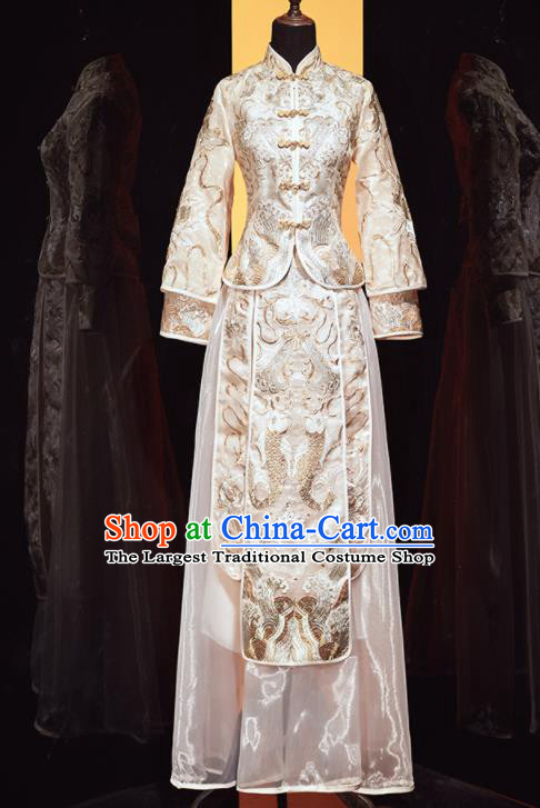 Chinese Traditional Xiu He Suit Wedding Embroidered Beige Blouse and Dress Bottom Drawer Ancient Bride Costumes for Women