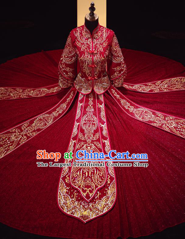 Chinese Traditional Xiu He Suit Wedding Embroidered Dark Red Blouse and Dress Bottom Drawer Ancient Bride Costumes for Women