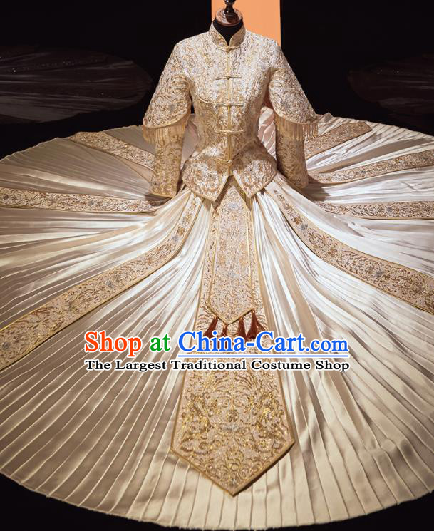 Chinese Traditional Xiu He Suit Wedding Embroidered Light Golden Blouse and Dress Bottom Drawer Ancient Bride Costumes for Women