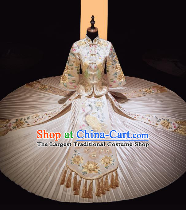Chinese Traditional Xiu He Suit Wedding Embroidered Peacock White Blouse and Dress Bottom Drawer Ancient Bride Costumes for Women