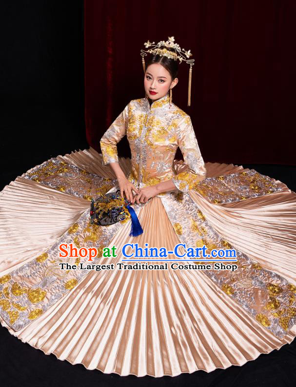 Chinese Traditional Champagne Xiu He Suit Wedding Embroidered Blouse and Dress Bottom Drawer Ancient Bride Costumes for Women