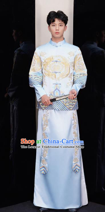 Chinese Ancient Bridegroom Embroidered Light Blue Mandarin Jacket and Red Gown Traditional Wedding Tang Suit Costumes for Men