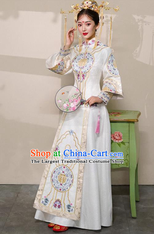 Chinese Traditional White Xiu He Suit Wedding Embroidered Peony Blouse and Dress Bottom Drawer Ancient Bride Costumes for Women