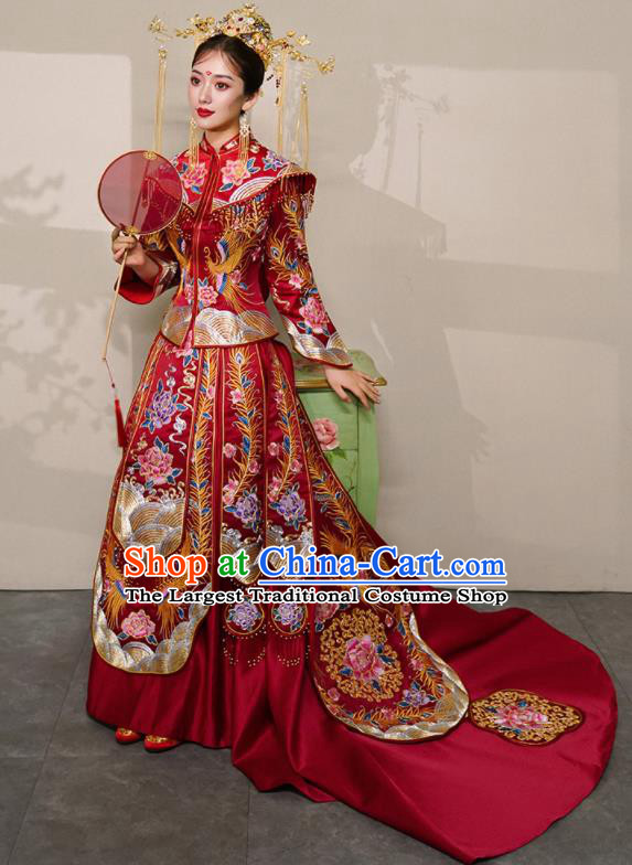 Chinese Traditional Xiu He Suit Wedding Embroidered Peony Red Blouse and Dress Bottom Drawer Ancient Bride Costumes for Women
