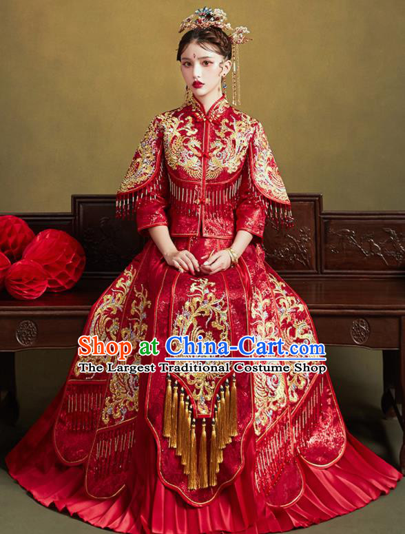 Chinese Traditional Wedding Bottom Drawer Embroidered Phoenix Blouse and Dress Xiu He Suit Ancient Bride Costumes for Women