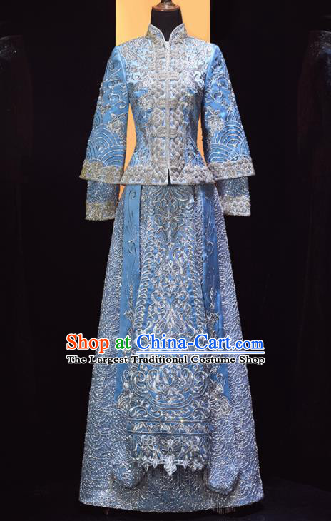 Chinese Traditional Drilling Blue Xiu He Suit Wedding Embroidered Blouse and Dress Bottom Drawer Ancient Bride Costumes for Women