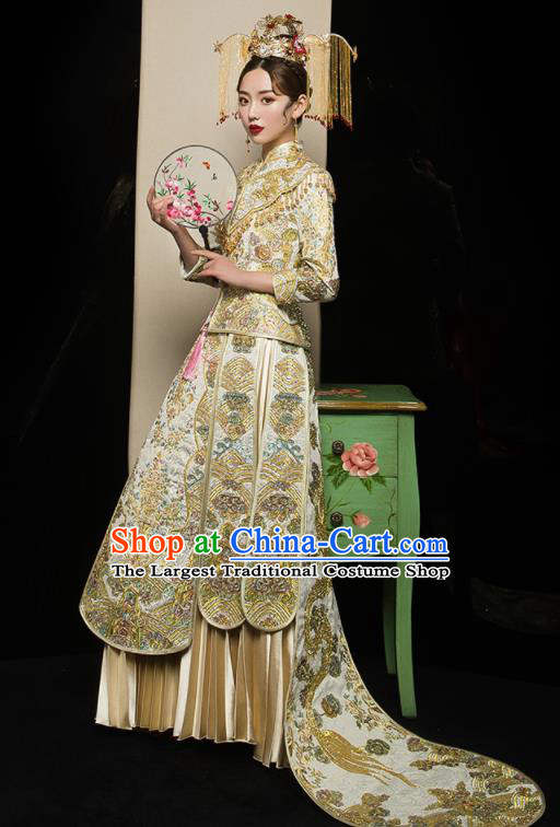 Chinese Traditional Xiu He Suit Wedding Embroidered Golden Blouse and Dress Bottom Drawer Ancient Bride Costumes for Women