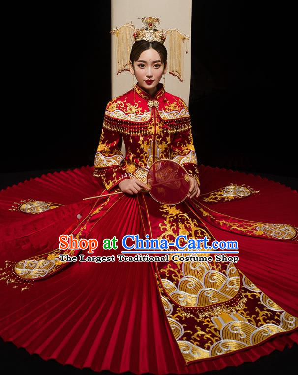 Chinese Traditional Xiu He Suit Wedding Embroidered Red Blouse and Dress Bottom Drawer Ancient Bride Costumes for Women
