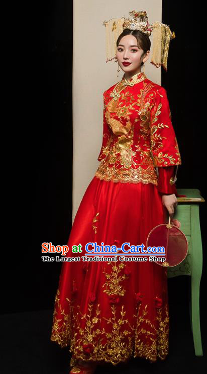 Chinese Traditional Xiu He Suit Wedding Embroidered Red Veil Blouse and Dress Bottom Drawer Ancient Bride Costumes for Women