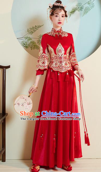 Chinese Traditional Xiu He Suit Wedding Red Blouse and Dress Bottom Drawer Ancient Bride Costumes for Women