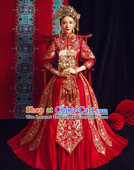 Chinese Traditional Bride Embroidered Xiu He Suit Wedding Red Blouse and Dress Bottom Drawer Ancient Costumes for Women