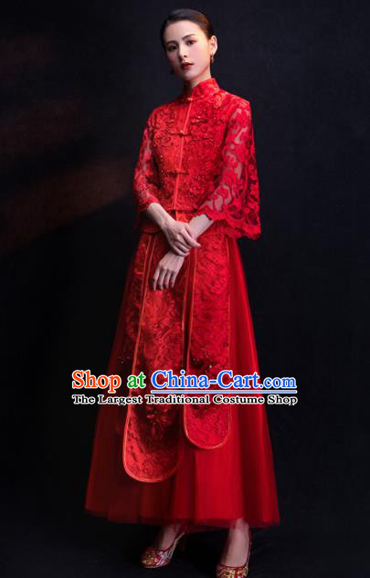 Chinese Traditional Bride Embroidered Veil Xiu He Suit Wedding Red Blouse and Dress Bottom Drawer Ancient Costumes for Women