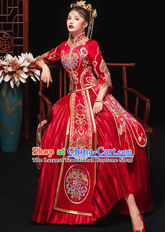 Chinese Traditional Bride Embroidered Drilling Red Xiu He Suit Wedding Blouse and Dress Bottom Drawer Ancient Costumes for Women