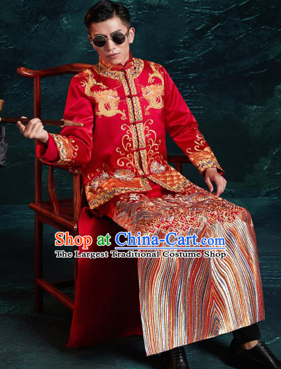Chinese Ancient Bridegroom Embroidered Dragon Red Mandarin Jacket and Red Gown Traditional Wedding Tang Suit Costumes for Men