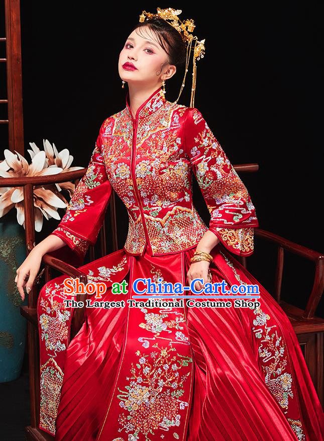 Chinese Traditional Bride Embroidered Drilling Peony Red Xiu He Suit Wedding Blouse and Dress Bottom Drawer Ancient Costumes for Women
