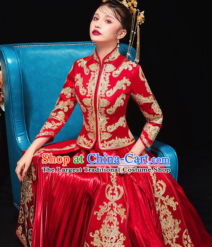 Chinese Traditional Bride Drilling Red Xiu He Suit Wedding Blouse and Dress Bottom Drawer Ancient Costumes for Women