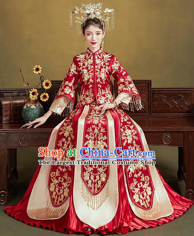 Chinese Traditional Bride Embroidered Flowers Red Xiu He Suit Wedding Blouse and Dress Bottom Drawer Ancient Costumes for Women