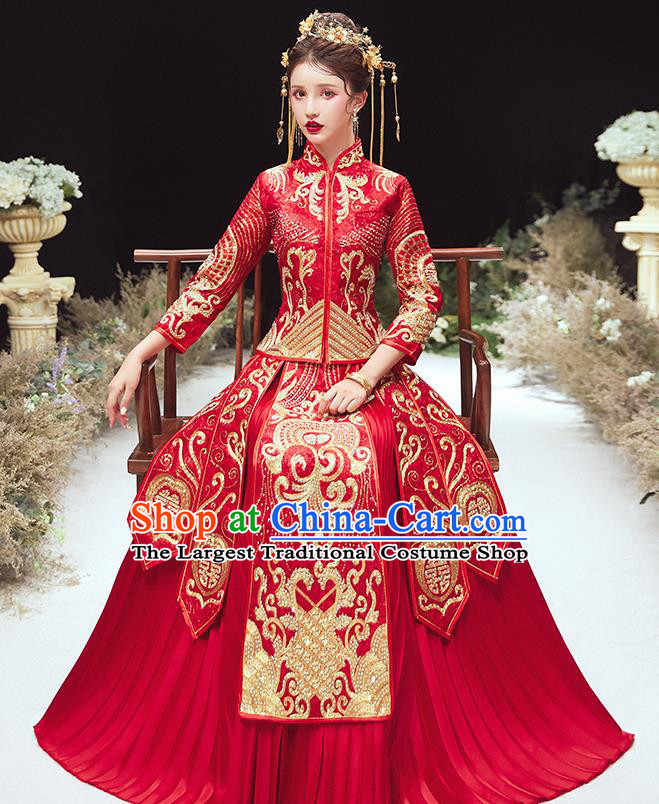 Chinese Traditional Bride Embroidered Red Xiu He Suit Wedding Blouse and Dress Bottom Drawer Ancient Costumes for Women