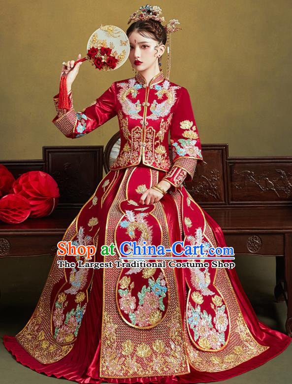 Chinese Traditional Wedding Drilling Bottom Drawer Embroidered Phoenix Peony Blouse and Dress Xiu He Suit Ancient Bride Costumes for Women