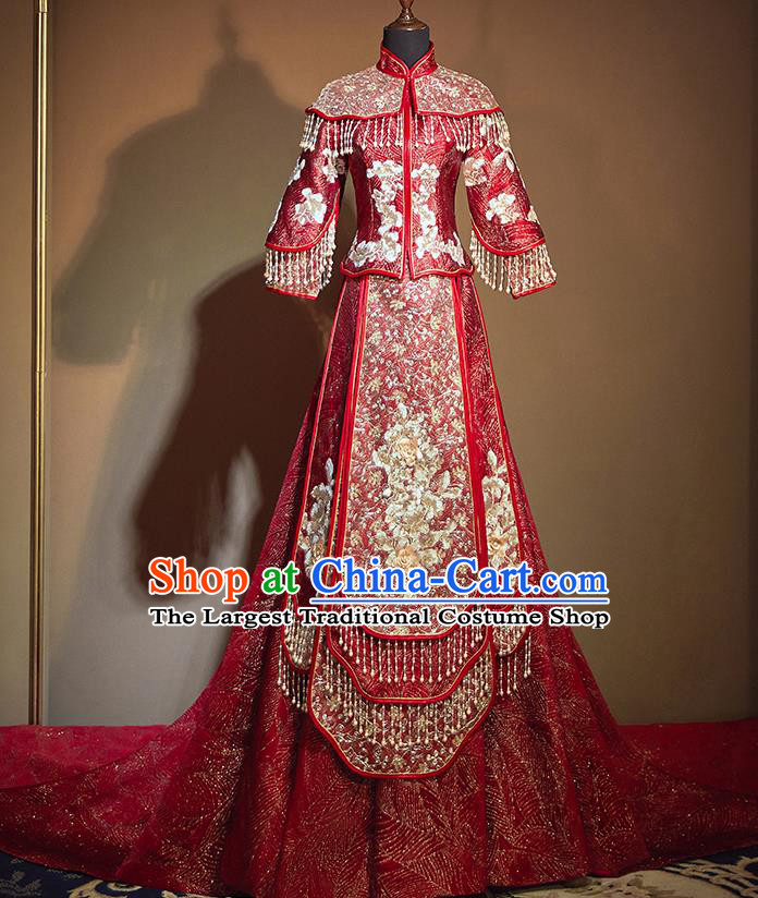 Chinese Traditional Bride Embroidered Red Trailing Xiu He Suit Wedding Blouse and Dress Bottom Drawer Ancient Costumes for Women