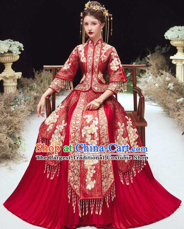 Chinese Traditional Bride Embroidered Xiu He Suit Wedding Blouse and Dress Bottom Drawer Ancient Costumes for Women