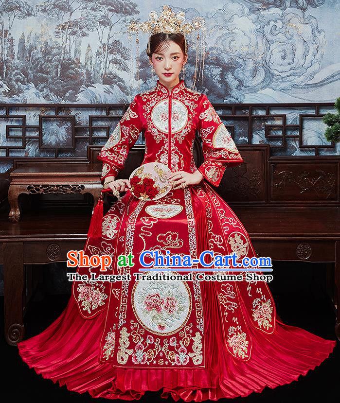 Chinese Traditional Bride Embroidered Drilling Peony Xiu He Suit Wedding Blouse and Dress Bottom Drawer Ancient Costumes for Women