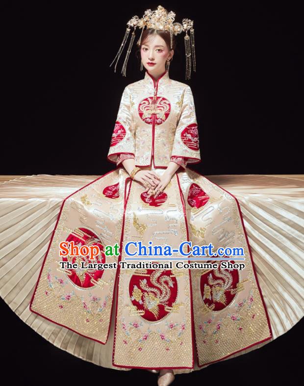 Chinese Traditional Bride Embroidered Drilling Phoenix Golden Xiu He Suit Wedding Blouse and Dress Bottom Drawer Ancient Costumes for Women