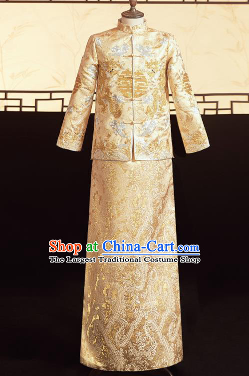 Chinese Ancient Bridegroom Golden Embroidered Dragons Mandarin Jacket and Pants Traditional Wedding Tang Suit Costumes for Men