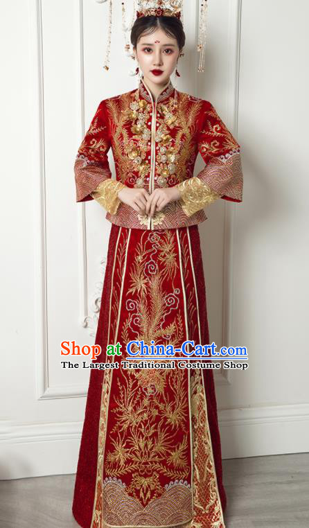 Chinese Traditional Xiu He Suit Wedding Embroidered Phoenix Red Blouse and Dress Bottom Drawer Ancient Bride Costumes for Women