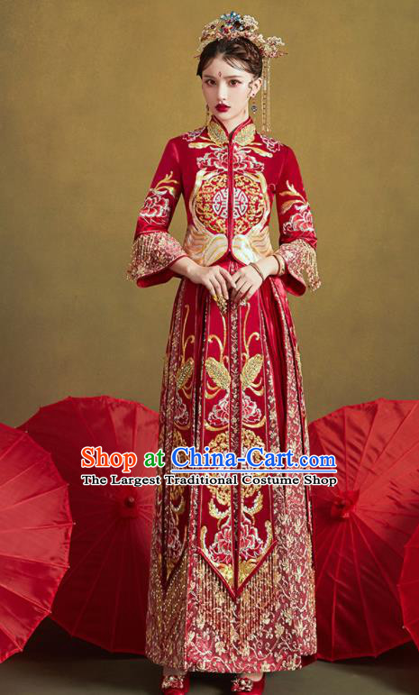 Chinese Traditional Wedding Bottom Drawer Embroidered Butterfly Peony Blouse and Dress Xiu He Suit Ancient Bride Costumes for Women