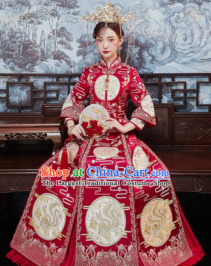Chinese Traditional Bride Embroidered Drilling Phoenix Red Xiu He Suit Wedding Blouse and Dress Bottom Drawer Ancient Costumes for Women