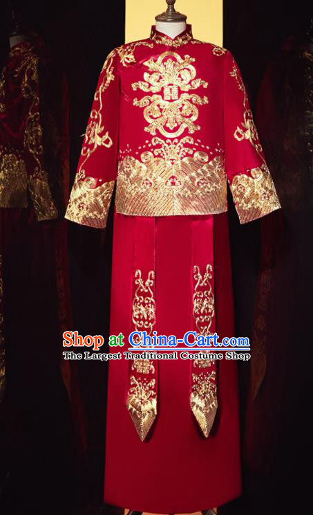 Chinese Ancient Bridegroom Embroidered Dragon Red Mandarin Jacket and Gown Traditional Wedding Tang Suit Costumes for Men